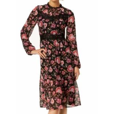 Nine West ナインウエスト ファッション ドレス Nine West Womens Dress Black Size 8 Shift Sheer Floral Print Lace-Trim