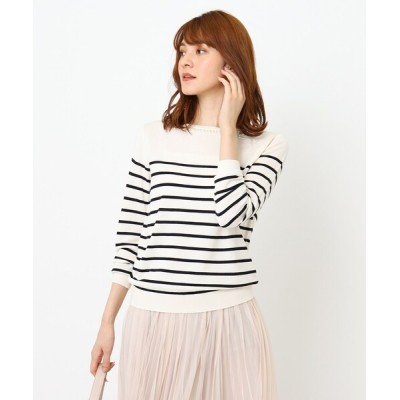 Couture brooch / リボンフェイクパール刺繍ニット WOMEN トップス > ニット/セーター