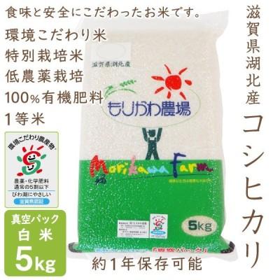 低農薬 コシヒカリ 5kg 令和2年産 真空パック 白米 100%有機肥料 長期保存 特別栽培米 1等米 滋賀県環境こだわり米