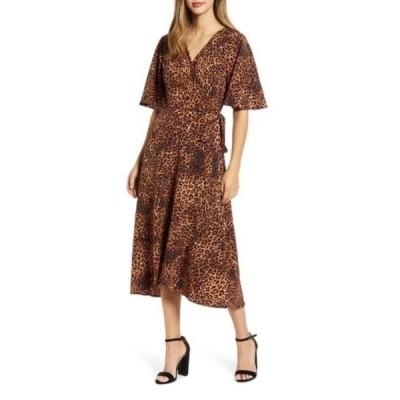 ボベー レディース ワンピース トップス Orna Print Wrap Dress TEXTURED LEOPARD