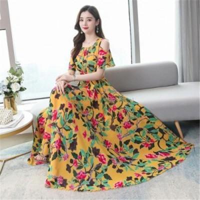 レディースファッション シフォンドレス女性2020韓国の夏の新しい女性のファッションOネックプリント半袖ロングスイングドレス  Chiffon