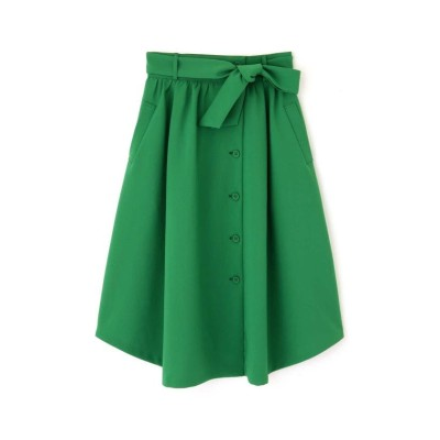 【ナチュラルビューティー(LARGEサイズ)】 トロポリーフロントボタンスカート レディース グリーン 13 NATURAL BEAUTY LARGE