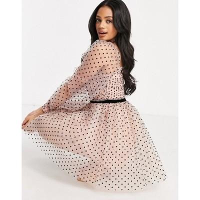 レア レディース ワンピース トップス Rare London textured mesh skater dress in pink polka