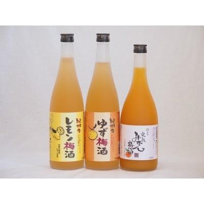 果物梅酒セット レモン梅酒×ゆず梅酒×完熟みかん梅酒 中野BC(和歌山県)720ml×3本