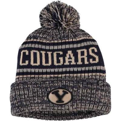 ゼファー 帽子 アクセサリー メンズ BYU Cougars Zephyr Springfield Cuffed Pom Knit Hat Navy
