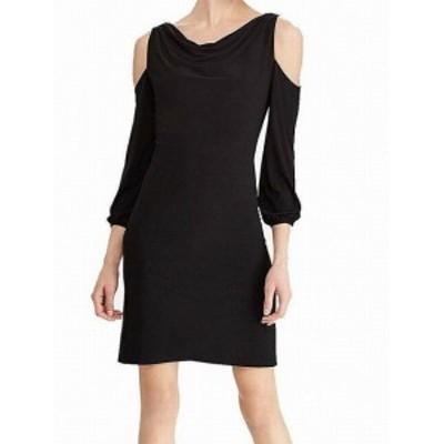 American  ファッション ドレス American Living Womens Black 12 Draped Neck Cold Shoulder Sheath Dress