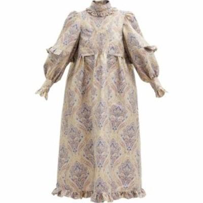 パコラバンヌ Paco Rabanne レディース ワンピース ミドル丈 ワンピース・ドレス Ruffled metallic paisley-jacquard midi dress Light b