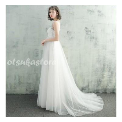 マタニティードレス ウエディングドレス ロングドレス  トレーン付き 結婚式 お花嫁 白 ホワイト パーティー 二次会 プライダルドレス