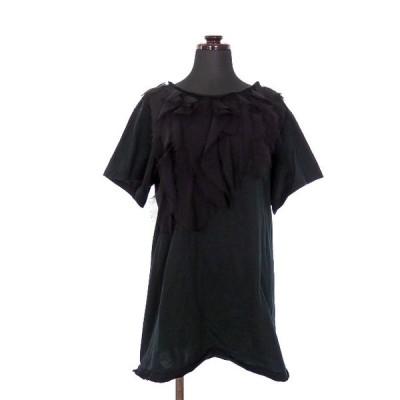 【中古】アンソール ENSOR CIVET フリル付き ロング Tシャツ カットソー 半袖 38 ブラック 黒 春夏 レディース 【ベクトル 古着】