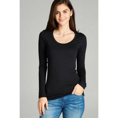 レディース 衣類 トップス Women's Premium Basic Long Sleeve Round Crew Neck T-Shirt Top Warm Soft in Several Colors