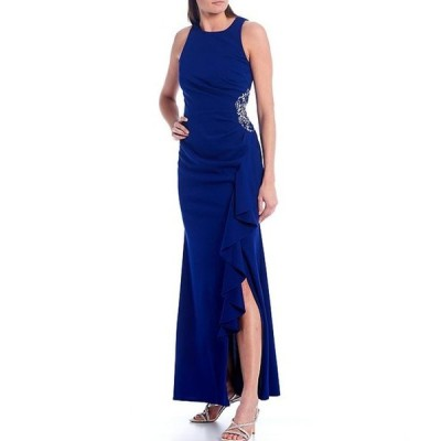 イグナイト レディース ワンピース トップス Sleeveless Embellished Side Ruffle Gown