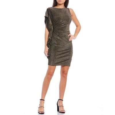 ヴィンスカムート レディース ワンピース トップス Ruffle Sleeve Ruched Glitter Knit Sheath Dress Gold