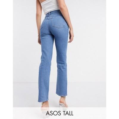 エイソス ASOS Tall レディース ジーンズ・デニム ボトムス・パンツ Asos Design Tall High Rise 'Slim' Stretch Straight Leg Jean In Brightwash グレー