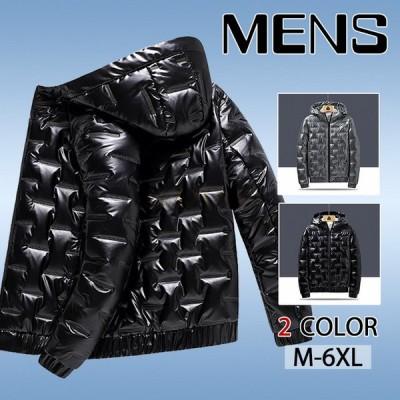 ダウンジャケット メンズ 中綿 コート トップス ジャンパー オシャレ フード付き 軽めアウター カジュアル 暖かい ジャケット 冬服
