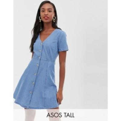 エイソス レディース ワンピース トップス ASOS DESIGN Tall denim tea dress with mock horn buttons in midwash blue Midwash blue
