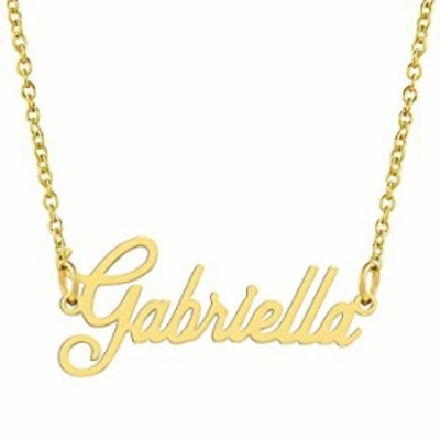 KISPER 18K Gold Plated Stainless Steel Personalized Name Pendant Necklace, Gabriella