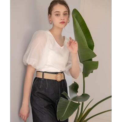 【アンドクチュール】 オーガンジー袖ボリュームプルオーバー レディース オフホワイト M And Couture