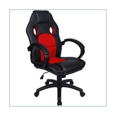 Polar Aurora Office Chair Leather Desk High Back Ergonomic Adjustable Racing Chair Task Swivel Executive Computer Chair(Red) 並行輸入品