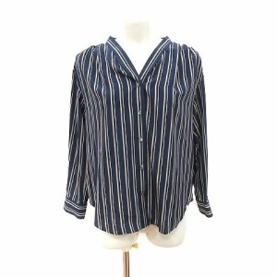 【中古】ノーリーズ Nolley's ノーカラーシャツ ブラウス 長袖 ストライプ 36 紺 ネイビー ベージュ /CT レディース