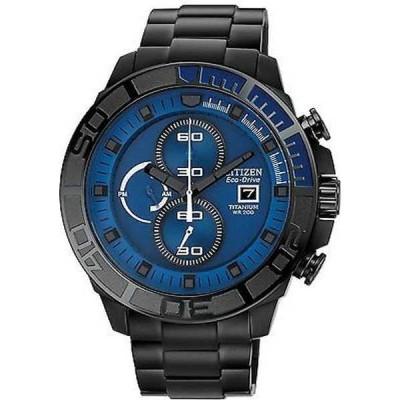 腕時計 シチズン Citizen CA0525-50L メンズ エコドライブ ブラック チタニウム ブルー ダイヤル クロノグラフ 腕時計
