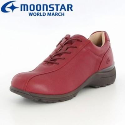 還元祭 クーポン利用可 送料無料 ムーンスター ワールドマーチ レディース ウォーキングシューズ 靴 WL2547EE レッド 高機能