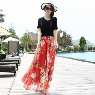 スカート フレアスカート ロング ロングフレアスカート フレアスカート大きいサイズ フレアスカート春 花柄 ロングスカート 大きいサイズ