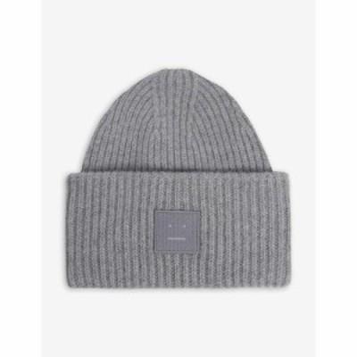 アクネ ストゥディオズ ACNE STUDIOS メンズ ニット ビーニー 帽子 Face logo-patch wool beanie hat GREY MELANGE