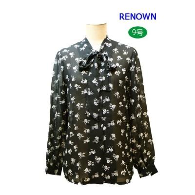昭和レトロ 長袖棒タイブラウス 花柄 9号 黒 レナウン レディースファッション 60年代70年代