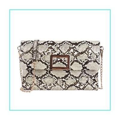 【新品】Ayliss Women's Snakeskin Bag Handbag Shoulder Clutch Purse Evening Bag PU Leather Crossbody Bag Chain Strap(並行輸入品)