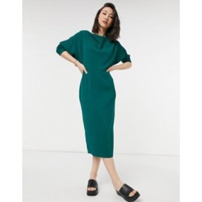 エイソス レディース ワンピース トップス ASOS DESIGN drop shoulder midi pencil dress in forest green Forest green