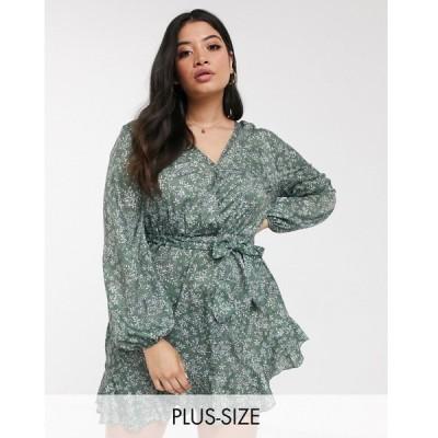 インザスタイル ドレス 大きいサイズ レディース In The Style Plus x Billie Faiers exclusive wrap front frilly skater dress in green floral print エイソ
