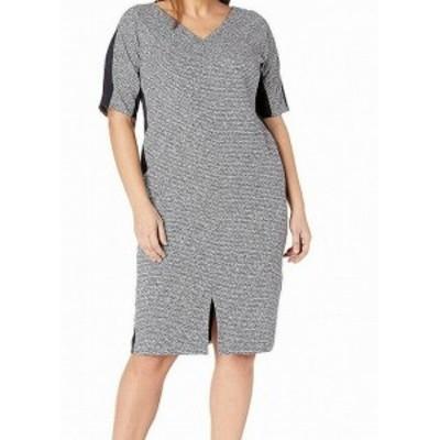 Maggy London マギーロンドン ファッション ドレス Maggy London Womens Blue Size 16W Plus Textured Printed Sheath Dress