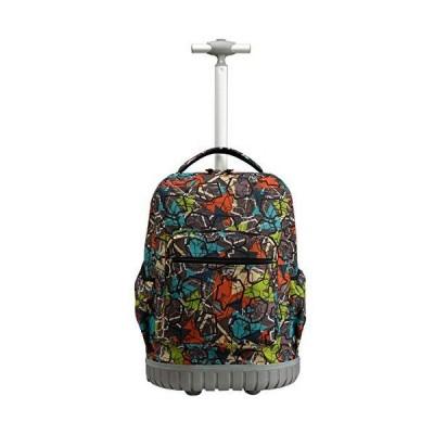 [新品]SKYMOVE 18 inches Wheeled Rolling Backpack Multi-Compartment College Books Laptop Bag, Gray Geometry