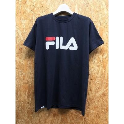 FILA フィラ L メンズ Tシャツ ロゴプリント 丸首 クルーネック ボックスカット カットソー 半袖 ポリエステル×綿 ネイビー 紺