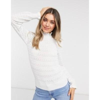 ニュールック レディース ニット・セーター アウター New Look pointelle frill sweater in white White