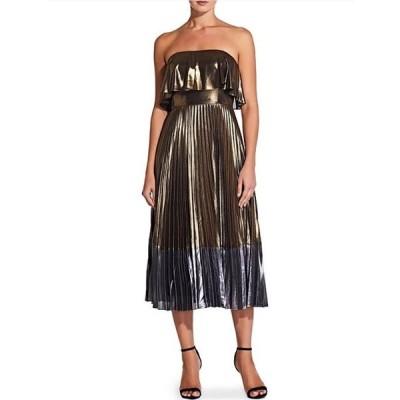 アイダンアイダンマトックス レディース ワンピース トップス Metallic Colorblock Pleated Strapless Popover Midi Dress