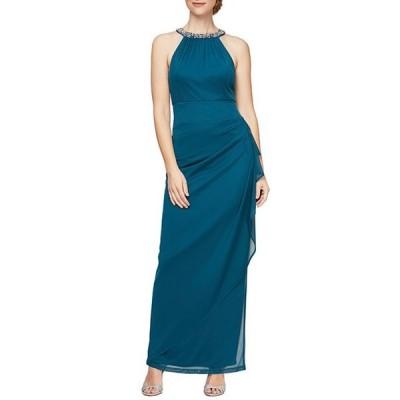 アレックスイブニングス レディース ワンピース トップス Petite Size Long Sleeveless Beaded Round Neck Dress