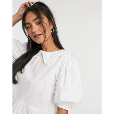 インフルエンス Influence レディース ブラウス・シャツ トップス cotton poplin peter pan collar blouse in white ホワイト