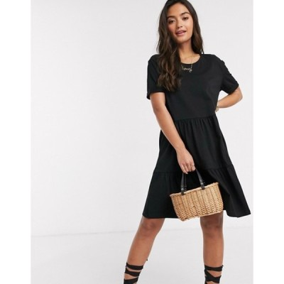 ニュールック レディース ワンピース トップス New Look smock short sleeve mini dress in black