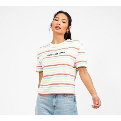 トミー ジーンズ Tommy Jeans レディース Tシャツ トップス summer stripe logo t-shirt Frozen Lemon