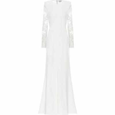 アレキサンダー マックイーン Alexander McQueen レディース パーティードレス ワンピース・ドレス Crepe and floral-lace dress Light I
