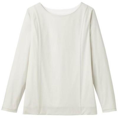 【ぽっちゃりさんサイズ】2枚仕立てクルーネックTシャツ(長袖)/ペールグレー/LL