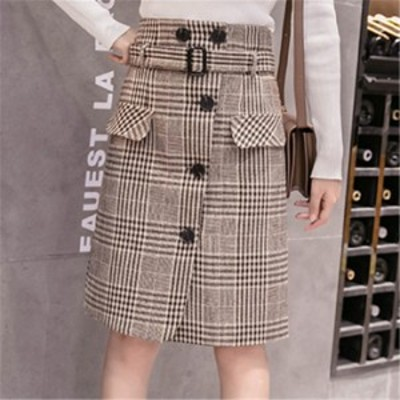 スカート チェック柄スカート レディース  フレアスカート ひざ丈スカート