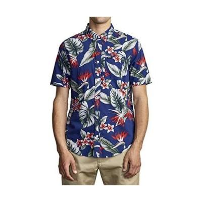 RVCA Men's Montara Short Sleeve Woven Button Front Shirt, Blue, M