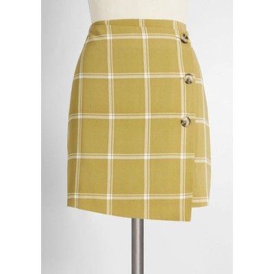 モドクロス ModCloth レディース ミニスカート スカート step to the side button mini skirt green