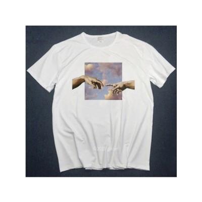 ミケランジェロ・ブオナローティ Tシャツ アダムの創造 フォーカス ライフ イズ アート 半袖 メンズ レディース 大きいサイズ 絵画 ホワイト 白