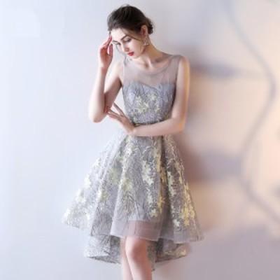 パーティドレス ドレス ショート丈 ラウンドネック ノースリーブ 透け感 シースルー 大人可愛い 春夏 結婚式 二次会 お呼ばれ 謝恩会 ブ