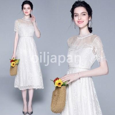 パーティードレス 安い 可愛い レースワンピース 白 ドレス ロング 結婚式レースドレス 20代30代 パーティードレス ロング ワンピース