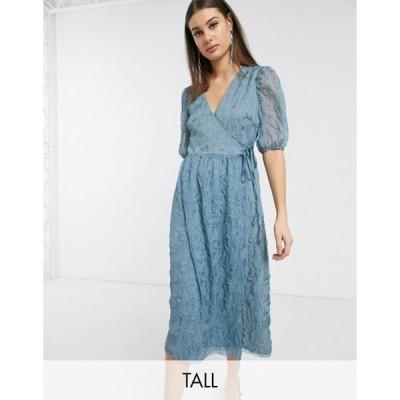 グラマラス レディース ワンピース トップス Glamorous Tall midaxi wrap dress with volume sleeves in texture