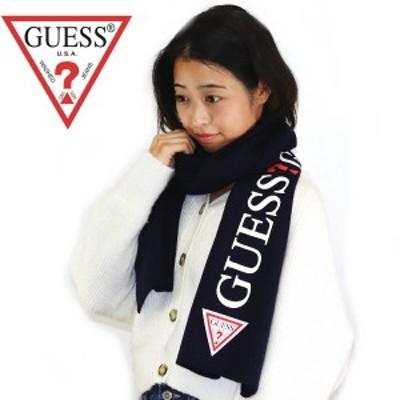 ゲス GUESS マフラー スカーフ ネイビー系 縦ロゴ 男女兼用 ユニセックスタイプ 8852DS 2018AW